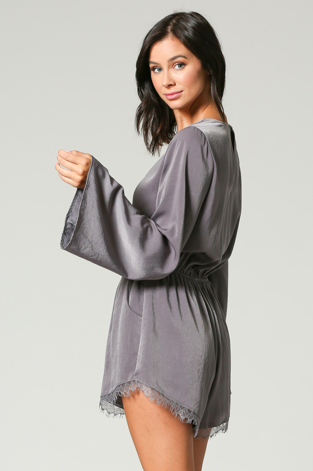 Long Sleeve Bling Satin Romper