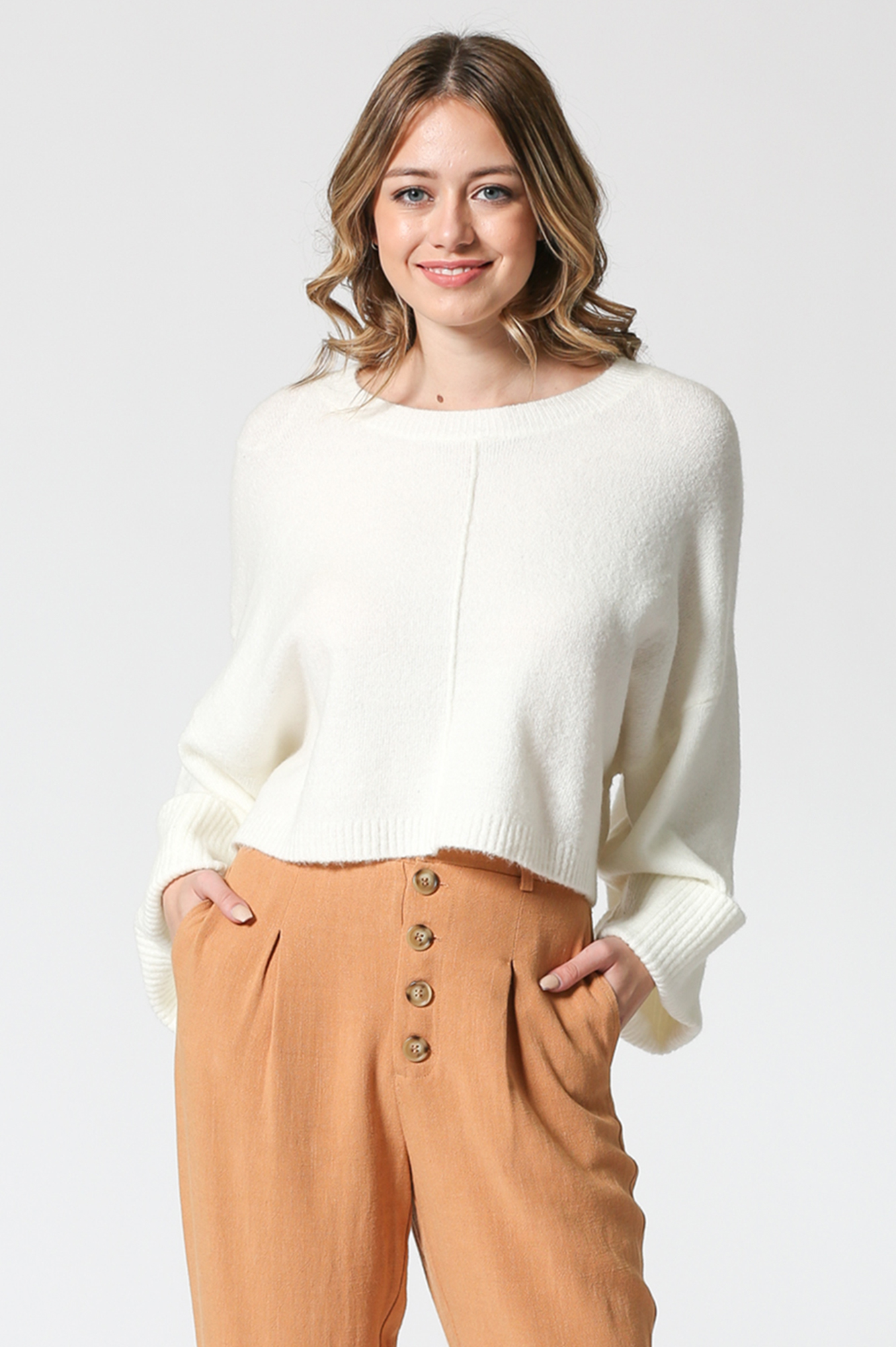 Boxy Cropped Knit Sweater