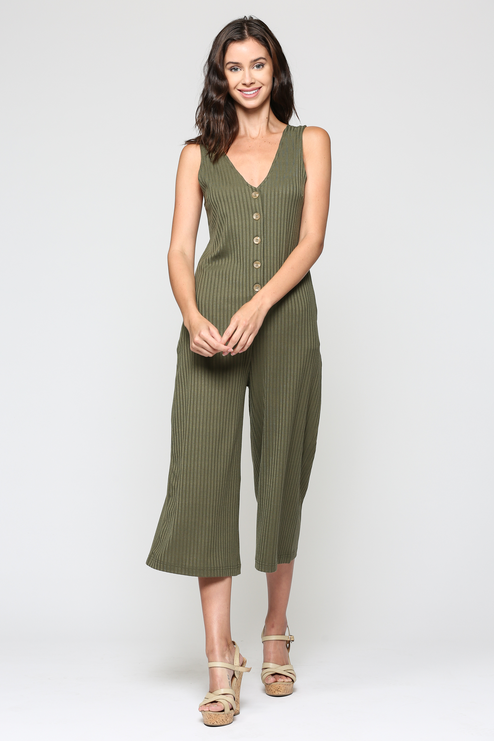 Ribbed Cropped Jumpsuit