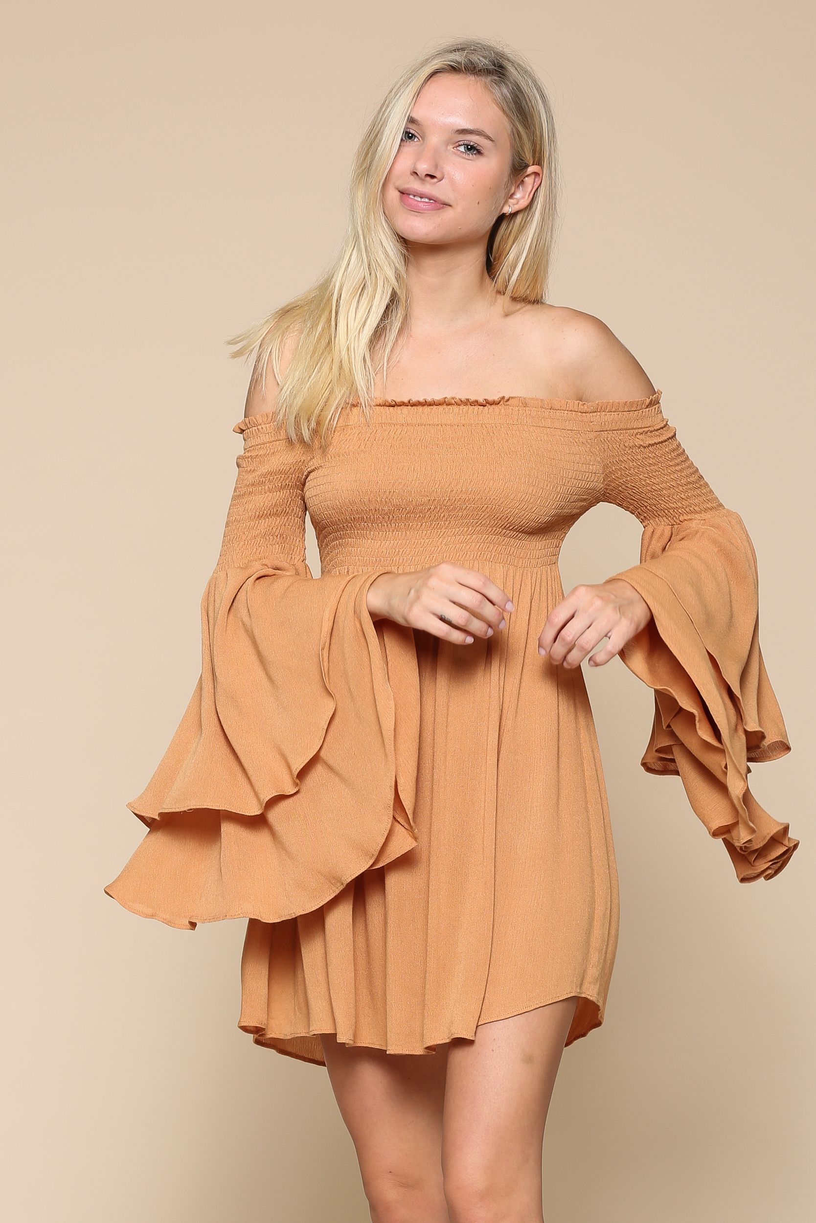 Off-the-Shoulder Smocked Dress
