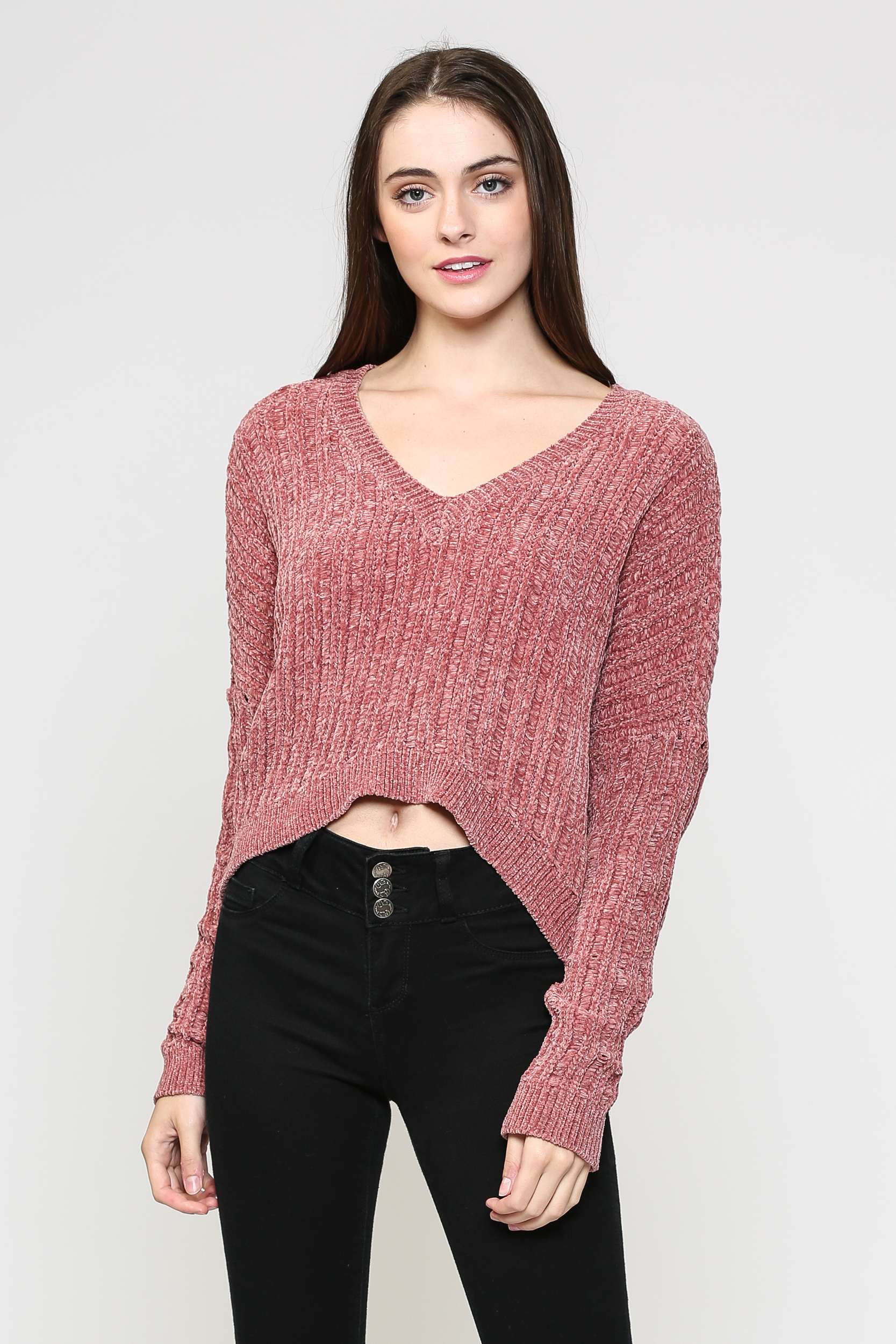 Cropped Chenille Knit Sweater