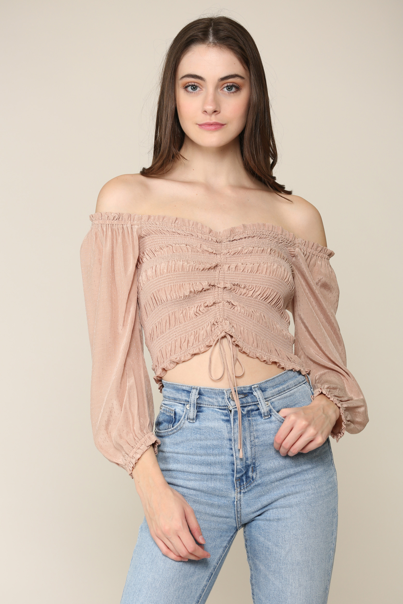 Ruched Drawstring Top